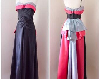 1930s black taffeta strapless evening dress / 30s bustle pink gown - S