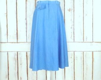 70s vintage light blue denim full flowy jean high waist skirt/midi/mid length jean skirt