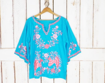 Vintage blue/pink Mexican floral embroidered dashiki top/boho hippie festival blouse