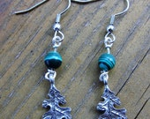 Leaf Earrings with Malachite