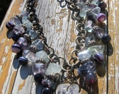 Bohemian Crystal, Amethyst, and Fluorite Necklace