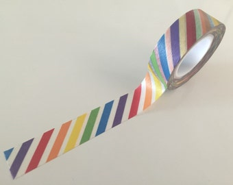 Diagonal Rainbow Stripes Washi tape - 15 mm Wide x 10 meters WT772