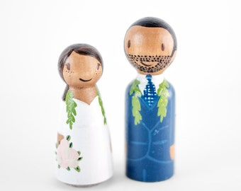 African American Cake Topper - ethnic wedding cake topper - wooden peg cake topper - custom peg people cake topper - interracial cake topper