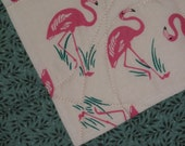 Pink Flamingo Potholders--Hostess Gift--Ready to Ship--Quilted Potholders