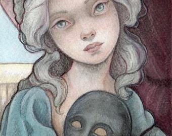 Unmasked....Original 5x7 Watercolor Illustration