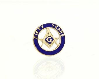 Vintage 10K Masonic Lapel Pin -50 year Service Award