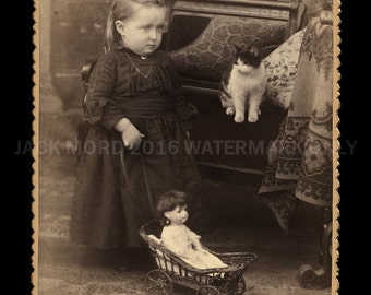 Fantastic Antique Photo ~ Adorable Little Girl Pushing Doll in Stroller & CAT!