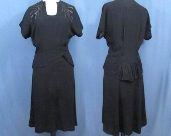 Black Crepe Rayon Dress - 1940s - Black Sequin Design, Peplum - Med