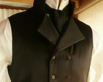 Mens English Regency Double Breasted Vest in Black Satin Grooms Waistcoat French Empire Eveningwear