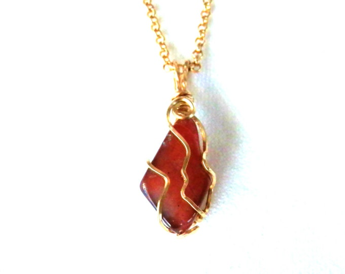 Carnelian Agate Beach Stone Polished, Gold Wire Wrapped Pendant with Chain, Handmade Jewelry, Gift Idea for Wife, Artisan Jewelry