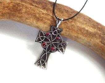 Celtic Cross Pendant – Sterling Silver, 10KT Gold & Garnet