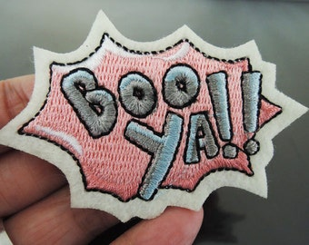 BOO YA Letter Patches - Iron on or Sewing on Patch Booya Pink Patches Gray Pink Patch Embellishments Embroidery fonts
