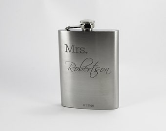 CUSTOM Personalized Hip Flask - Stainless Steel - Mrs. - Wedding Gift - Bridal Party - Bride