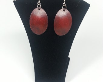 Red w/ Black PrismaColor on Copper Earrings