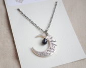 To the Moon and Back- Long Charm necklace, 30 inch charm necklace, Moon necklace, Moon quote necklace, I love you to the moon and back