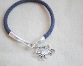 Fish hook Bracelet, Crab Charm, Silver Fish hook bracelet, blue crab bracelet, Navy blue cord, Nautical bracelet, Anchor Clasp