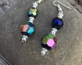 Iridescent Earrings Silver and Multicolored Glass Beads, Crystal Beads, Christmas Gifts, Gifts for Her, Handmade Jewelry, Purple Earrings