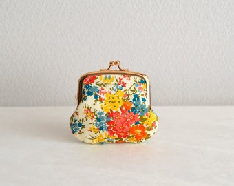 Liberty floral tiny coin purse - orange, yellow, Handmade in Japan. Ready to ship.