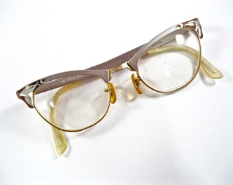 Vintage cat eye glasses. aluminum metal combo frames. 1950s silver and copper etched temples. 44-20