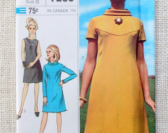 Vintage pattern Simplicity 7290 dress roll collar A Line dress Bust 31 1960s First Lady Mod Mad Men yoke short long sleeves
