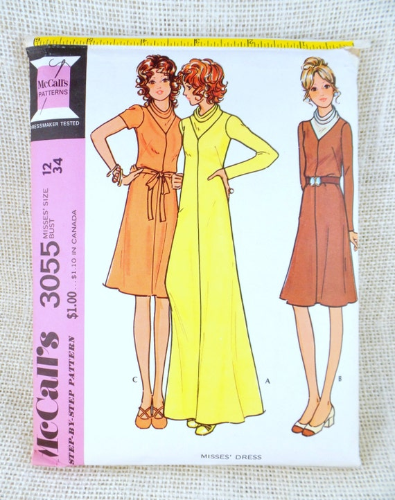 Vintage McCall's 3055 pattern 1970s 1970 sewing cowl neck