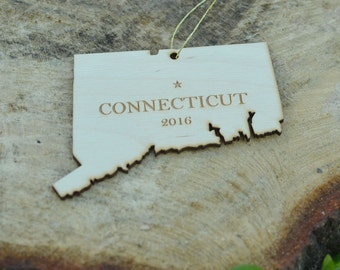 Natural Wood Connecticut State Ornament WITH 2016