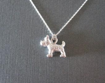 Silver Schnauzer Dog Necklace