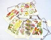 Spring Flower Bunting - from book and buttons - upcycled -C-