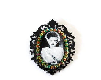 Bride of Frankenstein Acrylic &Glass Cameo Brooch Pin with Green AB Crystals