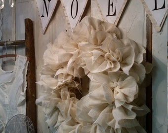 White Burlap Christmas Wreath, Tattered, Ruffled, Shabby