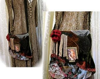 Gypsy Bohemian Bag, handmade unique OOAK velvet fabric purse, lace fringe embellished, hippie bohemian gypsy purse, hippie boho bag SMALL