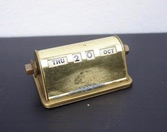 Vintage Park Sherman Co. Perpetual Desk Calendar, Gold Tone Metal, 1940s Desk Decor Office Supply, Desktop Date Display  330041