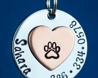 """Custom Pet Tag - Heart Dog Tag - 1"""" Stainless Steel Pet ID Tag - Personalized Cat ID Tag - Custom Pet Tag"""