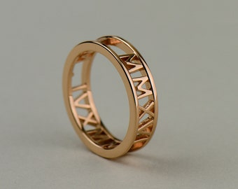10k, 14k, 18k Rose Gold Personalized Roman Numeral Ring. Custom Name, Date, Symbol, Number. Wedding and Anniversaries