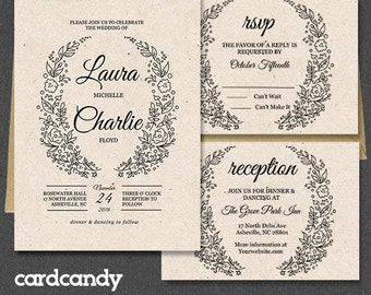 Wedding Invitation Template, Printable Wedding Invitation, Edit in Microsoft Word. Instant Download - WREATH