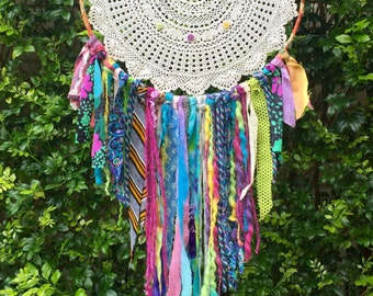Doily Boho Rainbow Dreamcatcher