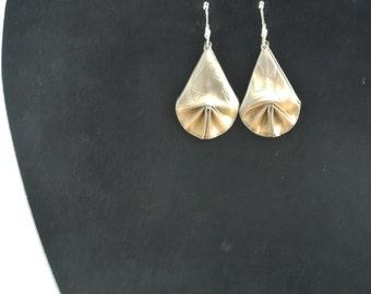 Fine silver origami fan earrings 999
