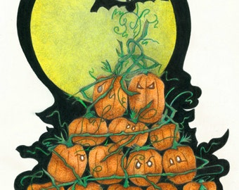 Halloween Fine art print illustrations childrens pumpkin whimsical moon bat