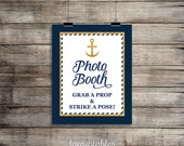 Nautical Photo Booth Sign, Navy Blue & Gold Anchor, Baby Boy Shower Sign, 2 Sizes, DIY Printable, INSTANT DOWNLOAD
