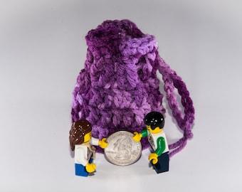Coin Bag - Shades of Purple - Money Dice Token Medicine Bag - Drawstring - Tones of Orchid Lavender Lilac Plum Multi Colour Color
