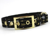 Dog Collar with Metal Buckle-Gold and Black Arrows
