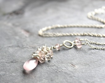 Cascade Rose Quartz Necklace Sterling Silver Cluster Pink Gemstone Tassel Necklace