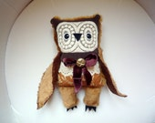 Parsec Azimov Owl , soft art  creature  toy by  Wassupbrothers, buho, boho lacy, nursery decor, soft friend, stuffed textile doll , natural