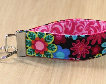 Key Fob Wristlet - Pink Flowers - Ready to Ship