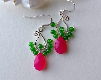 Pink Green Hoop Earrings, Paisley Hoop Earrings, Silver Paisley Earrings, Hot Pink Lime Green Hoops