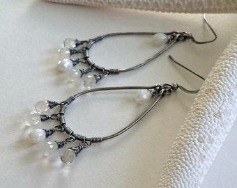 Moonstone Hoop Earrings, Oxidized Hoop Earrings, White Gemstone Hoops, Silverite Earrings, Gemstone Chandelier:  Ready to Ship