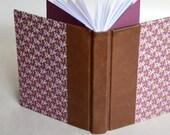Leather Spine Deep Plum Journal, Hardcover Flower Journal, Carte Varese Hardcover Journal