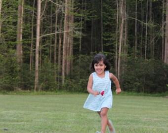 Toddler Girl Dress, Blue Toddler Dress, Baby Girl Dress, Reversible Pinafore Dress, Reversible Baby Dress, Girls Reversible Top, Blue Dress