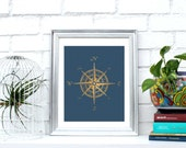 Printable Golden compass wall decor, Gold & Blue, wall art,poster,Instant Download, minimalist print,4 x 1. Simulated gold foil