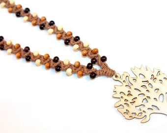 Tree of Life hemp necklace with wood beads, macrame, micromacrame, hippie, natural, eco friendly, music festivals